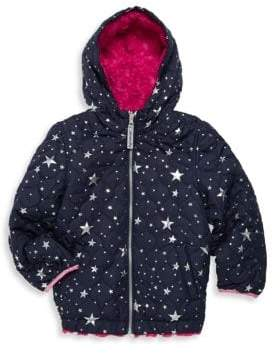 London Fog Little Girl's Star & Faux Fur Reversible Hooded Jacket