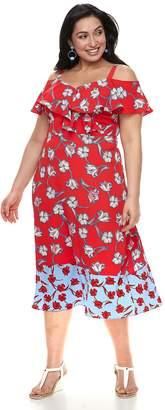 Plus Size Suite 7 Floral Cold-Shoulder Dress