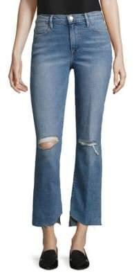 Frame Le Distressed Asymmetric Hem Jeans