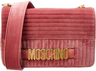 Moschino Logo Quilted Velvet Shoulder Bag