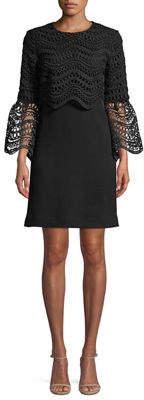 Lela Rose Crochet Bell-Sleeve Tunic Dress