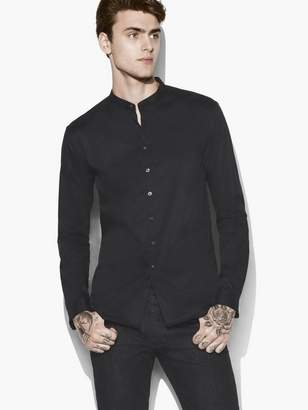 John Varvatos Solid Band Collar Shirt
