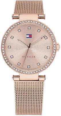 Tommy Hilfiger Women Rose Gold-Tone Stainless Steel Mesh Bracelet Watch 32mm