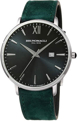 Bruno Magli Men's Roma 42mm Suede Leather Watch, Green/Silver