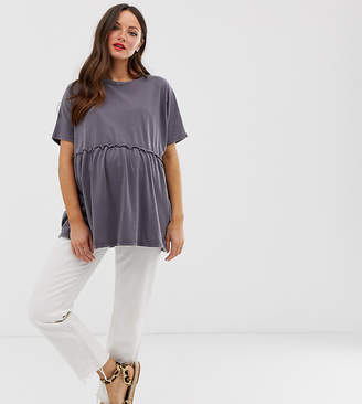 Asos DESIGN Maternity oversized smock in wash with ruffle