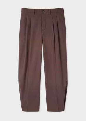Paul Smith Men's Brown Straight-Leg Pleated Red Ear Trousers