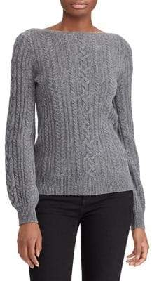 Lauren Ralph Lauren Cable Puff-Sleeve Sweater