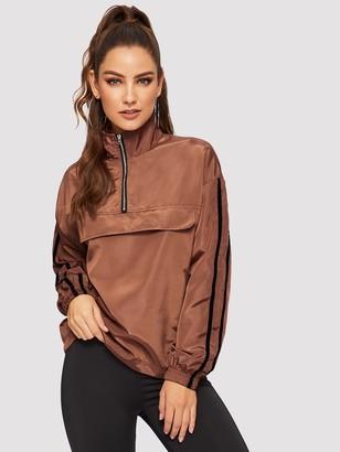 Shein Striped Sleeve Half Placket Windbreaker Jacket