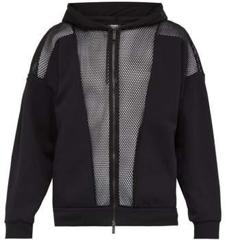 Fendi Mesh And Jersey Hooded Sweatshirt - Mens - Black