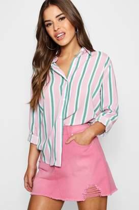 boohoo Petite Candy Stripe Oversized Shirt
