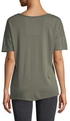 NYDJ Short-Sleeve Raw-Edge V-Neck Tee