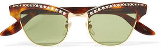 Gucci Pixie Crystal-embellished Gold-tone And Acetate Cat-eye Sunglasses - Tortoiseshell