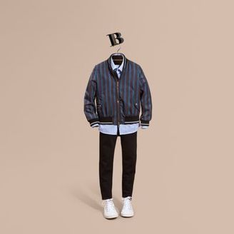 Burberry Stripe Print Technical Bomber Jacket $750 thestylecure.com