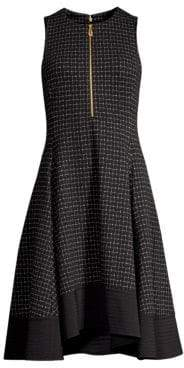 Donna Karan Check Fit-&-Flare Dress