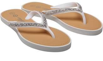 029227f4a Ribbon Womens Diamante Trim Toe Post Sandals White