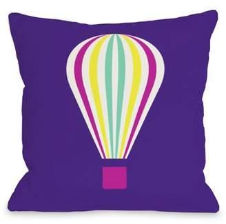 One Bella Casa Hot Air Balloon - Neon 16x16 Pillow by OBC
