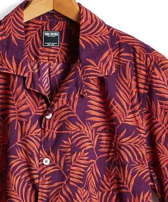 Todd Snyder Short Sleeve Floral Leaf Camp Collar Shirt in Red