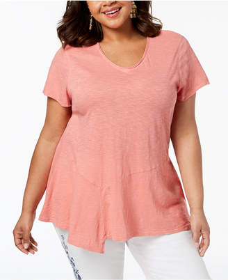 Style&Co. Style & Co Plus Size Cotton Asymmetrical Flounce-Hem Top, Created for Macy's
