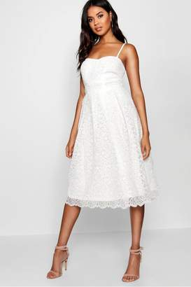 boohoo Womens Boutique Embroidered Strappy Midi Skater Dress - White