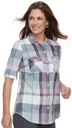 Croft & Barrow Petite Roll-Tab Woven Shirt