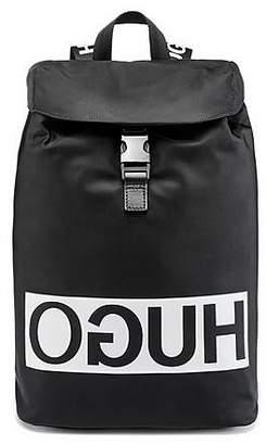 HUGO BOSS Reverse-logo backpack in nylon gabardine with leather trims