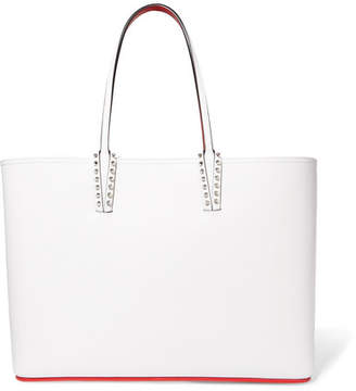 Christian Louboutin Cabata Spiked Textured-leather Tote - White