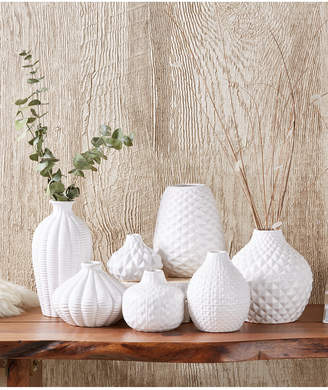 Twos Company Artisan Carvings Set of 7 Bud Vases in White