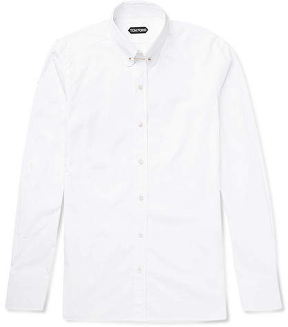 Tom Ford Icon Slim-Fit Rounded Bar Collar Cotton-Poplin Shirt