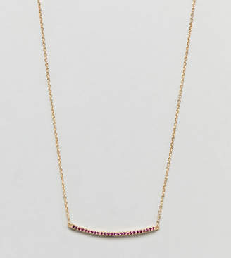Shashi Sterling Silver 18K Gold Plated Crystal Pave Bar Necklace