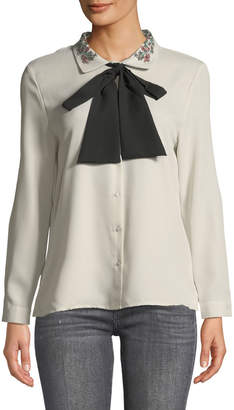 Haute Rogue Sara Embroidered-Collar Bow-Tie Blouse