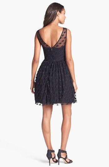 Jill Stuart Jill Polka Dot Mesh Fit & Flare Dress
