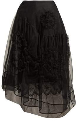 Simone Rocha - Asymmetric Ruffled Rosette Tulle Skirt - Womens - Black