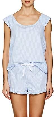 The Sleep Shirt THE SLEEP SHIRT WOMEN'S STRIPED COTTON PAJAMA SET - BLUE STR SIZE L