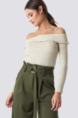 BEIGE Trendyol Yol Off Shoulder Knitted Jumper