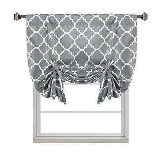 H.VERSAILTEX Thermal Insulated Grey Blackout Curtain - Tie Up Shade for Small Window (Rod Pocket Panel