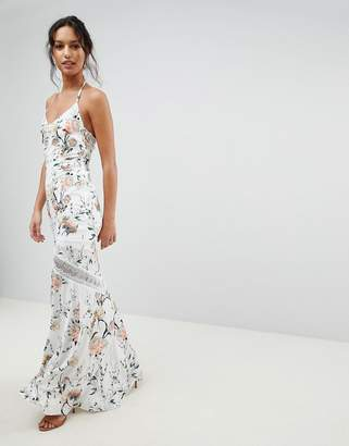 Hope and Ivy Hope & Ivy Mirrored Floral Printed Crochet Insert Maxi Dress