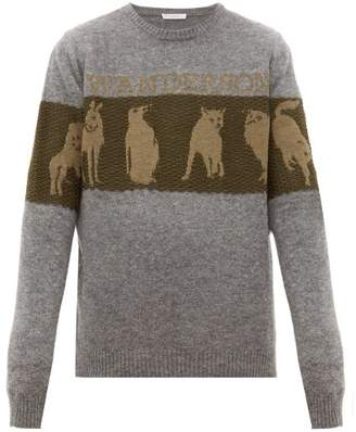 J.W.Anderson Animal Jacquard Wool Blend Sweater - Mens - Grey Multi