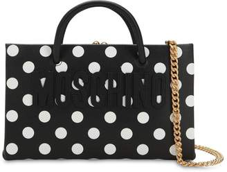Moschino DOT LOGO PRINTED LEATHER SHOULDER BAG