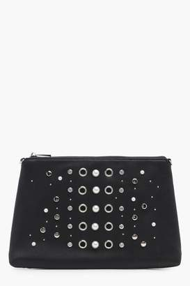 boohoo Pearl And Eyelet Zip Top Clutch