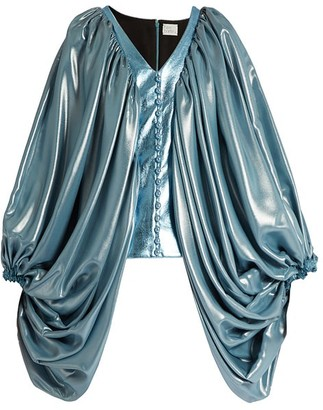 Hillier Bartley Balloon Sleeve Silk Blend And Faux Leather Top - Womens - Blue