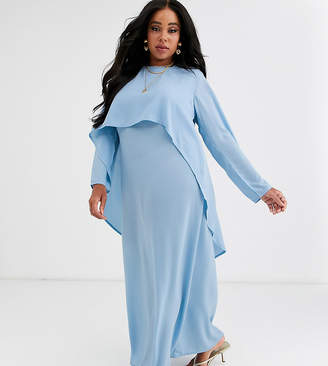 Verona Curve long sleeve layered maxi dress in blue