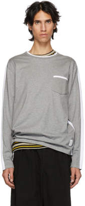 Thom Browne Grey and Navy Long Sleeve T-Shirt