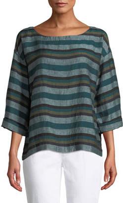 Eileen Fisher Cross-Dyed Linen Striped Box Tee, Petite