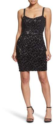Dress the Population Lindsay Sequin Cheetah Cocktail Sheath Dress