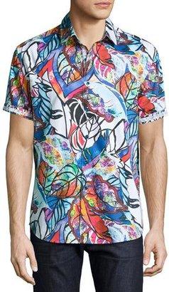 Robert Graham Caprica Short-Sleeve Leaf-Print Sport Shirt, Multi Pattern $228 thestylecure.com