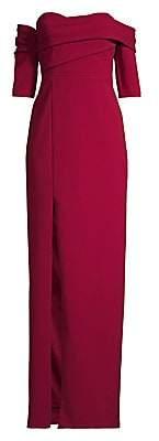 Aidan Mattox Women's Draped Asymmetric Column Gown