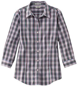 L.L. Bean L.L.Bean Wrinkle-Free Pinpoint Oxford Shirt, Three-Quarter-Sleeve Slightly Fitted Plaid