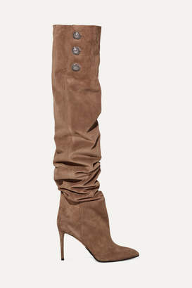 Balmain Janet Button-embellished Suede Thigh Boots - Taupe