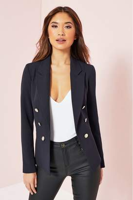 Lipsy Military Tailored Button Blazer - 4 - Blue
