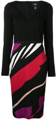 Class Roberto Cavalli striped fitted dress